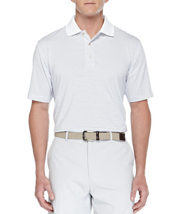 E4 Stokes Stripe Stretch-Jersey Polo, White