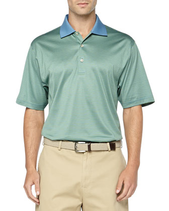 Striped Knit Polo, Blue Hampton
