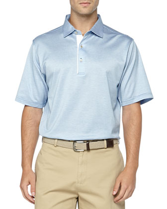 Short-Sleeve Knit Polo, Blue