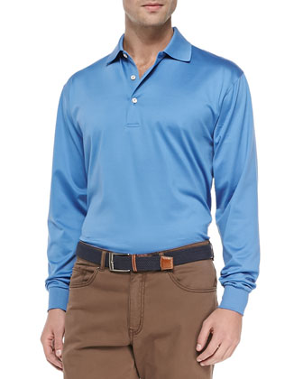 Mercerized Long-Sleeve Polo, Blue