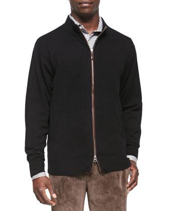Leather-Trim Full-Zip Sweater, Black