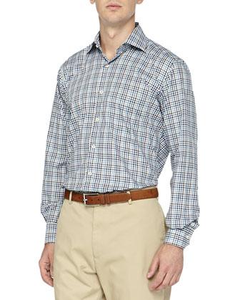 Melange Woven Shirt, Blue/Gray