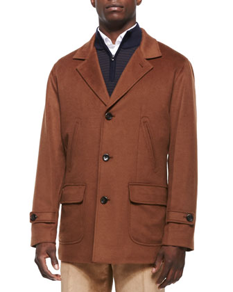 1/4-Length Single-Breasted Coat, Brown
