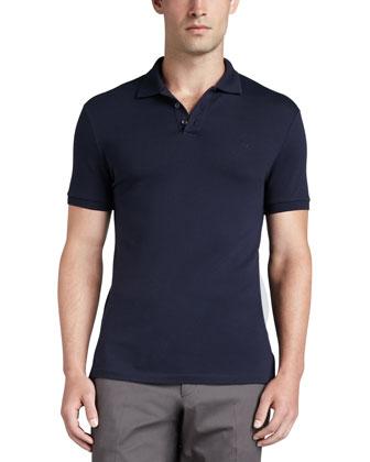 Short-Sleeve Mesh-Knit Polo Shirt & James Flat-Front Pants