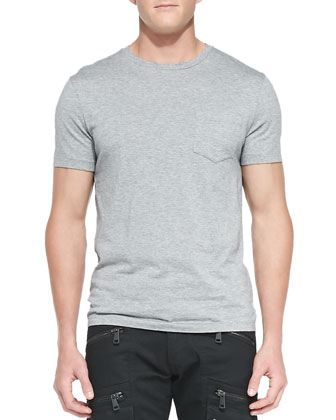 Patch-Pocket Crewneck Tee, Anthracite