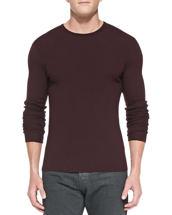 Ribbed Merino Wool Sweater, Burgundy