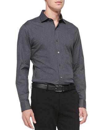 Stretch-Poplin Button-Down Shirt, Dark Gray