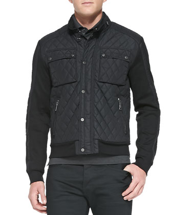 Quilted Moto Jacket with Contrast Sleeves, Black