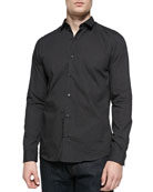 Slim Fit Micro-Pindot Button-Front Shirt