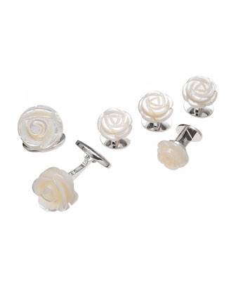 Mother-of-Pearl Carved Rose Tuxedo Cuff Link and Stud Set