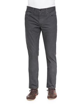 Slim Straight-Leg Five-Pocket Jeans, Charcoal