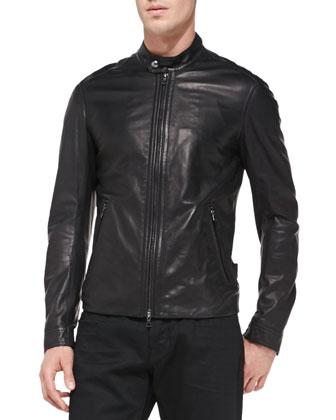 Lightweight Lambskin Moto Jacket & Black-Rinse Selvedge Denim Jeans