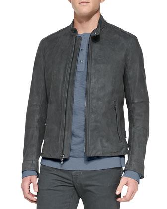 Waxed Leather Jacket, Charcoal