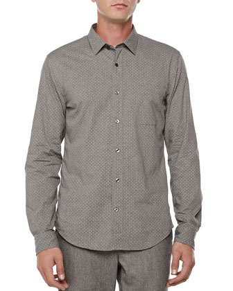 Pindot Button-Down Shirt, Dark Gray