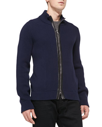 Ribbed Mock-Collar Cardigan, Navy