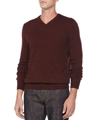 Cashmere V-Neck Sweater, Wine