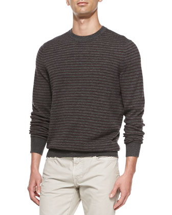 Striped Crewneck Sweater, Dark Gray