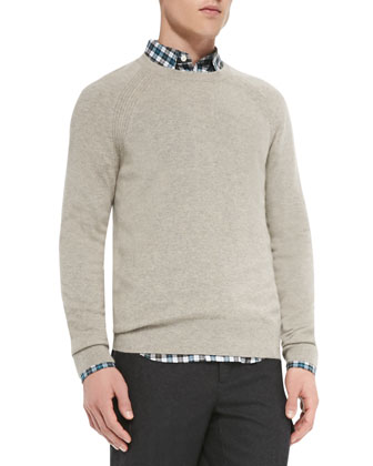 Elbow-Patch Crewneck Sweater, Beige