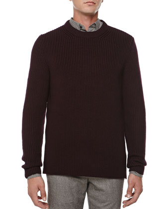 Chunky Crewneck Sweater, Wine