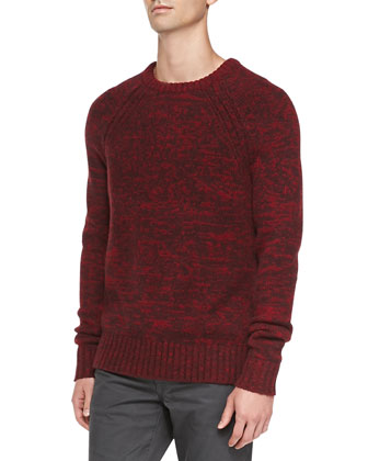 Raglan-Sleeve Melange Sweater, Wine