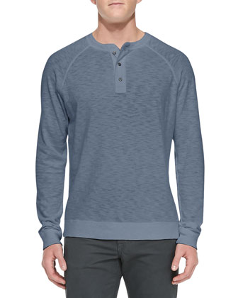 Long-Sleeve Slub Henley, Blue