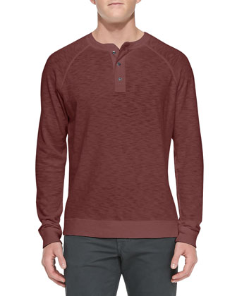 Long-Sleeve Slub Henley, Wine