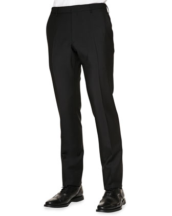 Flat-Front Mohair Trousers, Black