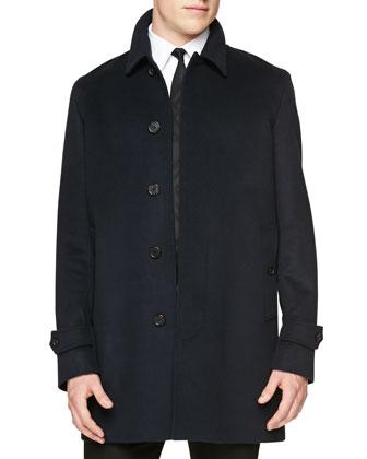 Wool/Cashmere Blend Car Coat, Navy
