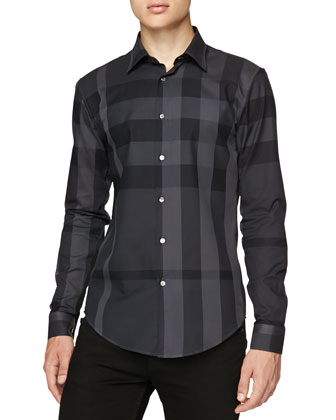 Check Poplin Sport Shirt, Gray