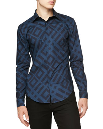 Abstract Check Sport Shirt, Blue