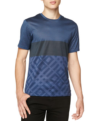 Dot & Abstract-Print Tee, Blue