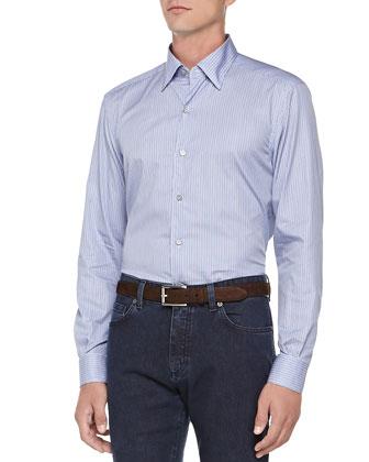 Striped Button-Down Shirt, Blue/White