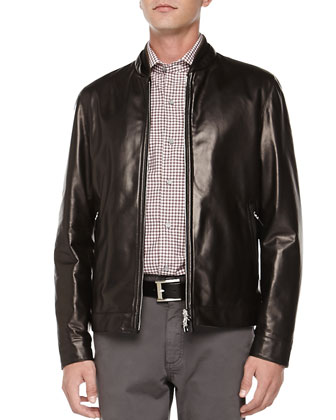 Reversible Leather Jacket, Black