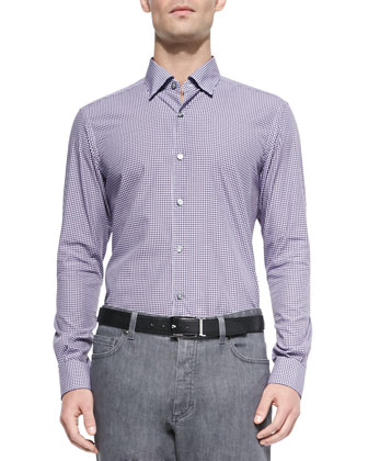 Button-Down Gingham Shirt, Plum/Navy/Light Blue