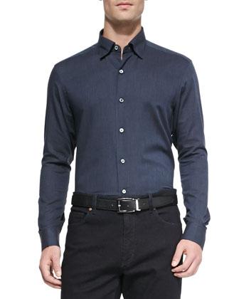 Woven Flannel Shirt, Navy