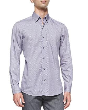 Circle-Print Button-Down Shirt, Purple