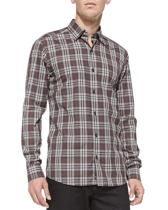 Plaid Woven Casual Shirt, Charcoal