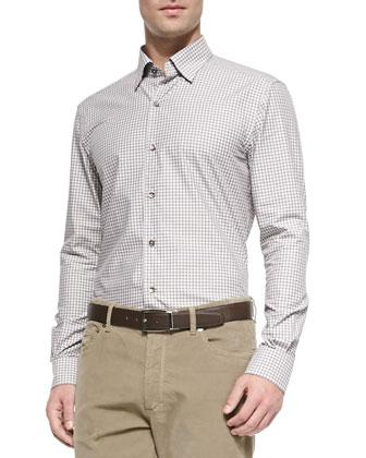 Woven Bold Plaid Sport Shirt, Black/Caramel