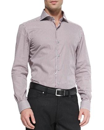 Clean Striped Long-Sleeve Shirt, Merlot