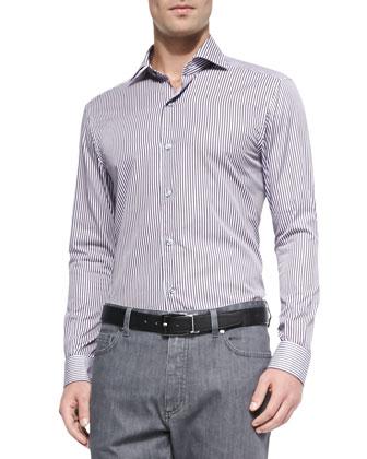Woven Clean Striped Dress Shirt, Purple