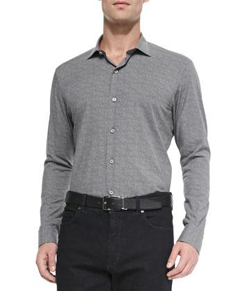 Woven Flannel Shirt, Dark Gray