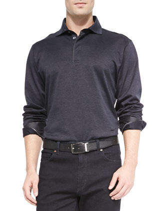 Woven Herringbone Long-Sleeve Polo, Navy