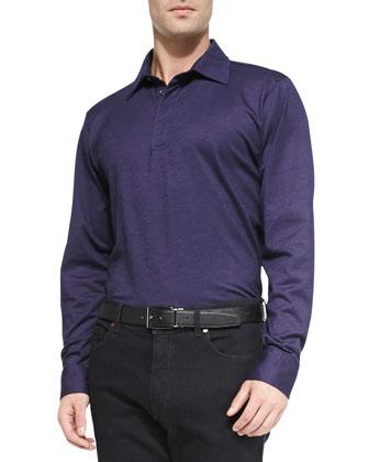 Long-Sleeve Polo Shirt, Purple