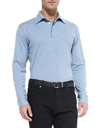Long-Sleeve Polo Shirt, Light Blue