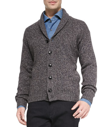 Shawl-Collar Cardigan, Navy