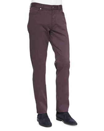 Five-Pocket Brushed Twill Pants, Purple