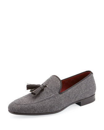 Flannel Tassel Loafer, Gray