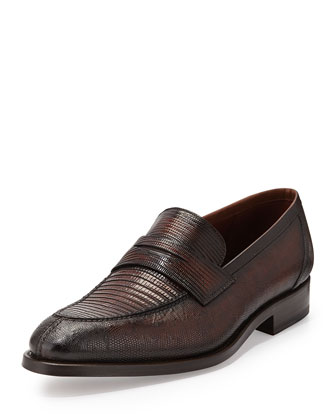 Lizard Penny Loafer, Brown