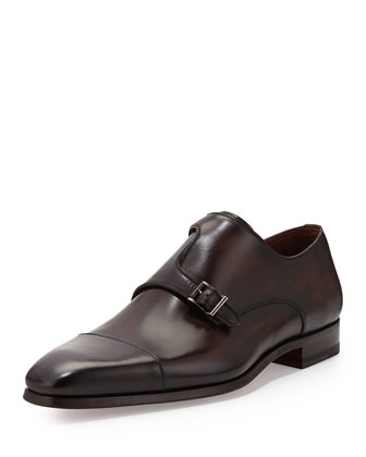 Off-Center Double-Monk Shoe, Black