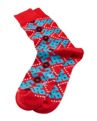 Aztec-Argyle Men's Socks, Red